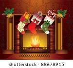 fireplace christmas.vector | Shutterstock .eps vector #88678915