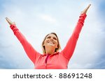 young woman with arms in the...   Shutterstock . vector #88691248