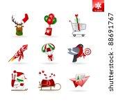Set Of 9 Christmas Icons On...