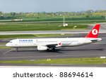 DUSSELDORF, GERMANY - APRIL 15: Airplane Aibus A321 landed in the airport on April, 15 2011 in Dusseldorf. The company operates scheduled services to 146 international and 41 domestic cities - stock photo