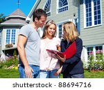 happy family with agent realtor ... | Shutterstock . vector #88694716