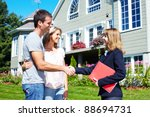 happy family with agent realtor ... | Shutterstock . vector #88694731