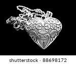 Silver Heart Pendant On Black