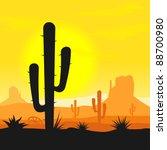 cactus plants in desert | Shutterstock .eps vector #88700980