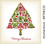 floral christmas card design | Shutterstock .eps vector #88708132