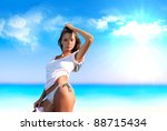 beautiful girl on the beach... | Shutterstock . vector #88715434