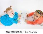 two little caucasian girl...   Shutterstock . vector #8871796