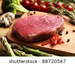 Raw Steak With Green Asparagus...