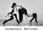 Young japanese women fashion. Black and white. - stock photo