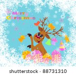 christmas card. gifts and... | Shutterstock .eps vector #88731310
