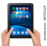 hands holding digital tablet... | Shutterstock .eps vector #88732129