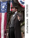 "Small photo of MOORPARK, CA - NOV 13: ""Abraham Lincoln"" at ""The Blue & The Gray"" event on Nov 13, 2011 in Moorpark, CA. Its the largest Civil War reenactment in the West."
