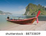 longtail boats at the beach on... | Shutterstock . vector #88733839