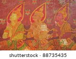 tradition thai painting on thai ... | Shutterstock . vector #88735435