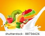 splashing milk with fruit mix   Shutterstock . vector #88736626