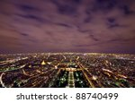 Paris night scene view from Eiffel Tower, France - stock photo
