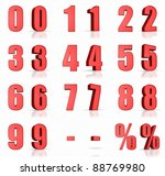 3d red numbers with percent and ... | Shutterstock . vector #88769980