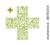 cross shape with medical icons... | Shutterstock .eps vector #88781014