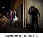 hooded man stalking two women... | Shutterstock . vector #88781671