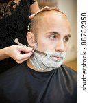 adult man being shaved at the... | Shutterstock . vector #88782358