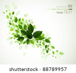 branch with fresh green leaves | Shutterstock .eps vector #88789957
