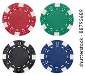 Four poker chips isolated on...