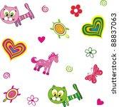 seamless baby background. cute... | Shutterstock . vector #88837063