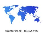 blue world map isolated on...