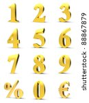 golden numbers with euro and... | Shutterstock . vector #88867879