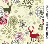 christmas floral seamless... | Shutterstock .eps vector #88869943