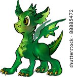 young charming dragon on a... | Shutterstock . vector #88885472