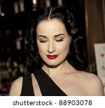 NEW YORK - NOVEMBER 15: DITA VON TEESE CELEBRATES U.S. LAUNCH OF HER NEW TRAVEL ACCESSORY MY COINTREAU TRAVEL ESSENTIALS AT FORTY FOUR ROYALTON on November 15, 2011 in NYC - stock photo