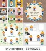 cartoon worker card | Shutterstock .eps vector #88906213