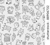 seamless monster pattern | Shutterstock .eps vector #88906732