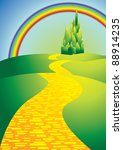 yellow brick road with rainbow | Shutterstock .eps vector #88914235