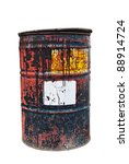 Old Rusty Oil Drum With White...