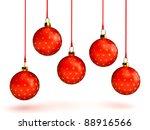 christmas balls over white | Shutterstock . vector #88916566