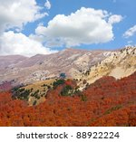 Mountain landscape with  autumn forest in valley - stock photo