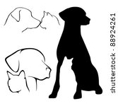 Stock photo dog and cat silhouettes 88924261