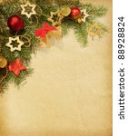 christmas vintage border. old... | Shutterstock . vector #88928824