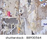 grunge wall with posters  ...   Shutterstock . vector #88930564