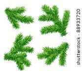 set of vector fir branches | Shutterstock .eps vector #88933720