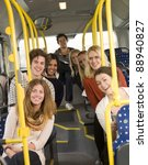 happy people on the bus | Shutterstock . vector #88940827