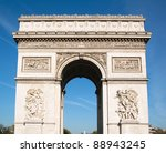 triumphal arch in paris against ...   Shutterstock . vector #88943245