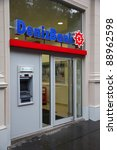 Small photo of VIENNA - SEPTEMBER 5: Deniz Bank branch on September 5, 2011 in Vienna. DenizBank is one of largest Turkish banks. It was founded in 1938 and currently is owned by Dexia corporation.