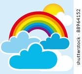 rainbow and clouds with sun ... | Shutterstock .eps vector #88964152