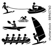 Water Sea Sport Surfing Skurfing Rowing Windsurfing Rafting Kayak Icon Symbol Sign Pictogram - stock photo