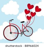 old bicycle with heart balloons ... | Shutterstock .eps vector #88966024