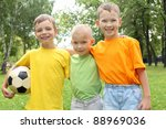 three boys in the park with a... | Shutterstock . vector #88969036