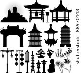 chinese asian temple building... | Shutterstock .eps vector #88970443